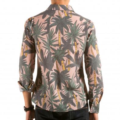 Мъжка бежова риза с принт палми il180215-187 3