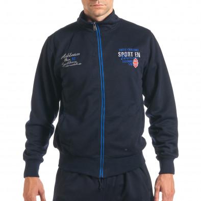 Мъжки син спортен комплект с надписи it160916-74 4