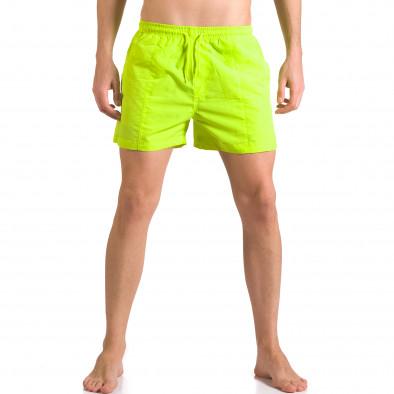 Ярко зелени мъжки бански шорти с удобни джобове ca050416-18 2