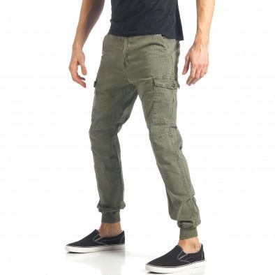 Мъжки зелен карго панталон с малки детайли по плата it290118-26 3