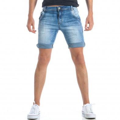 Мъжки къси дънки с италиански джобове it190417-58 2