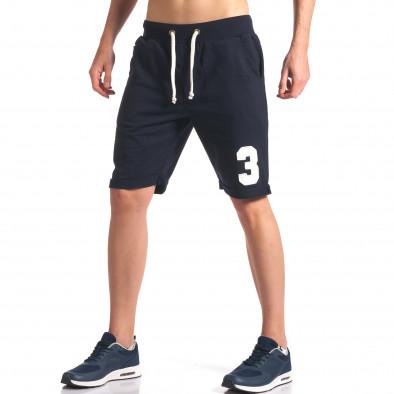 Мъжки тъмно сини шорти за спорт с номер New Men 5