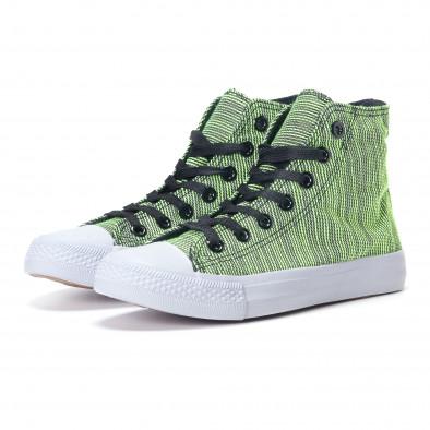 Дамски високи зелени кецове на фино райе it240118-9 3
