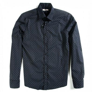 Мъжка черна риза Lagos с дискретно райе и малки цветчета 080213-3 2