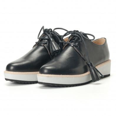 Дамски черни обувки с бели подметки it240118-59 4
