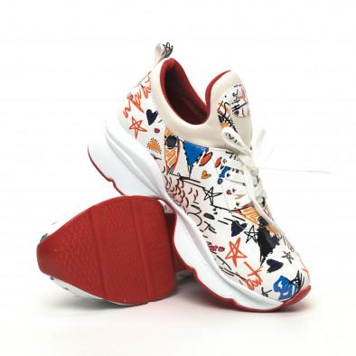 Лачени дамски маратонки в бяло с принт tr180320-25 4