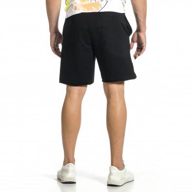 Трикотажни мъжки черни шорти с принт tr150521-20 3