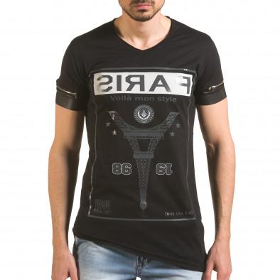 Черна тениска с ципове на ръкавите и принт tsf060416-4 2