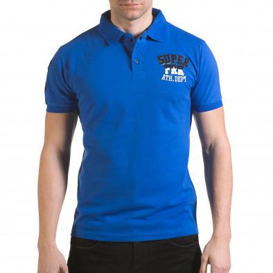 Мъжка синя тениска с яка с релефен надпис Super FRK il170216-21 2