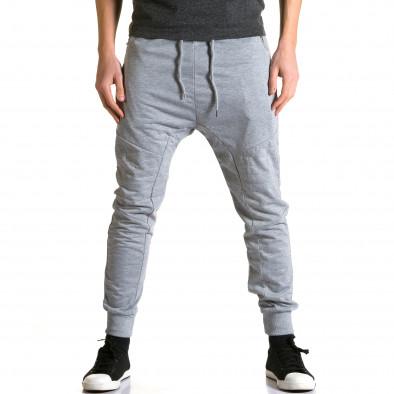 Мъжки светло сиви потури с ципове на предните джобове ca270115-1 2