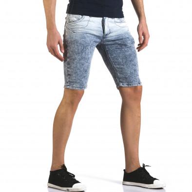 Мъжки светло сини къси дънки с преливащ цвят it110316-66 4