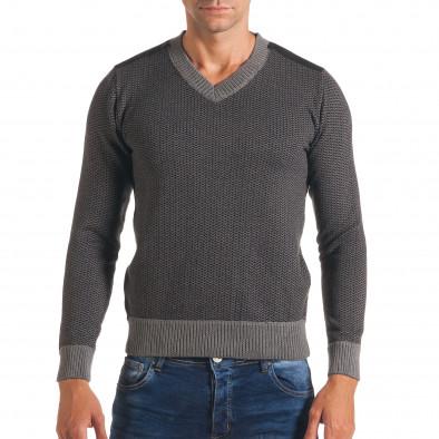 Мъжки тъмно сив пуловер с фигурална плетка it170816-6 2