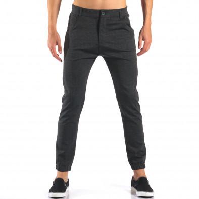 Мъжки тъмно сив панталон с еластични маншети на крачолите it160616-27 2