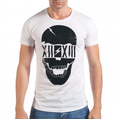 Мъжка бяла тениска с черен череп отпред il060616-74 2