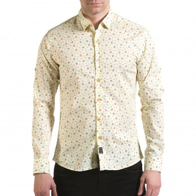 Мъжка жълта риза с малки цветя il170216-119 2