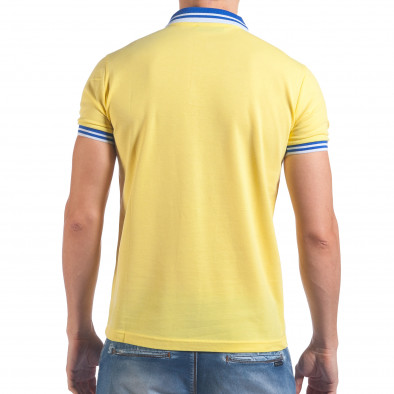 Мъжка жълта тениска с яка със син номер 7 il060616-100 3