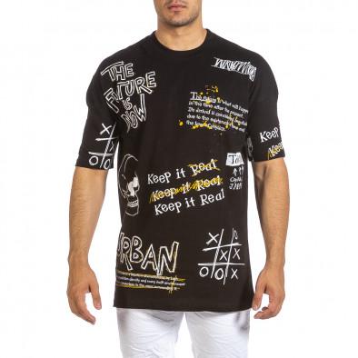 Oversize мъжка черна тениска с череп it240621-13 2
