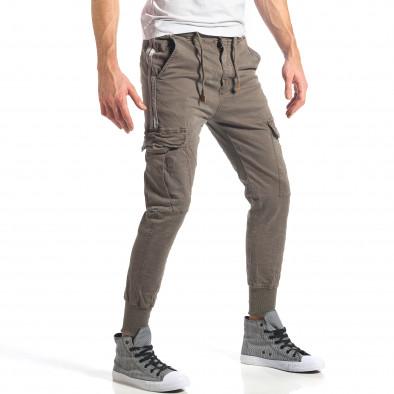 Мъжки зелен карго панталон с контрастни ленти it290118-8 3