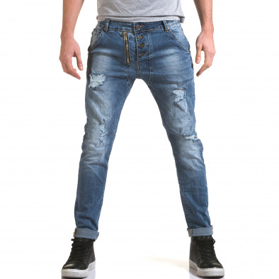 Мъжки светло сини дънки с декоративен цип отпред it090216-4 2