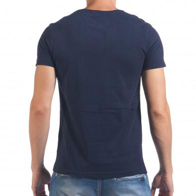 Мъжка синя тениска с принт кецове il060616-9 3