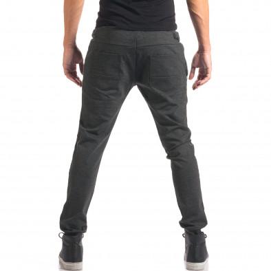 Мъжки тъмно сив спортен панталон с копчета it150816-20 3