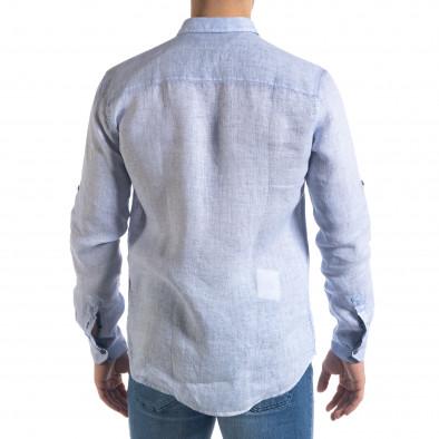 Ленена мъжка риза в светло синьо tr110320-92 4