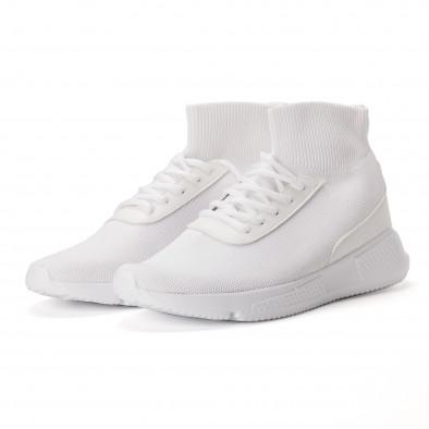 Комбинирани бели мъжки маратонки тип чорап  it020618-18 3