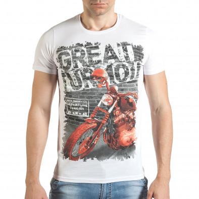 Мъжка бяла тениска с рокерска щампа il140416-51 2