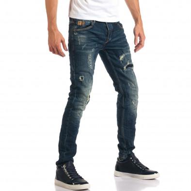 Мъжки дънки с декоративни скъсвания и кръпки it160916-19 4