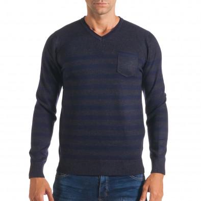 Мъжки синьо-сив пуловер със сини райета it170816-34 2
