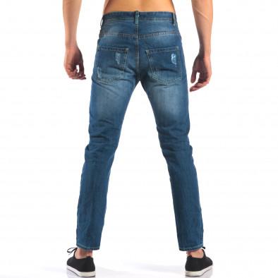 Мъжки дънки с емблеми и скъсвания it160616-28 3