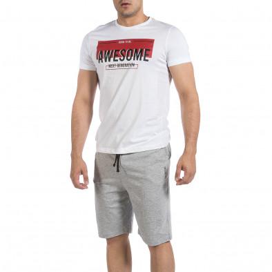 Мъжки комплект Awesome в бяло и сиво it040621-5 2