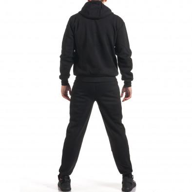 Мъжки черен спортен комплект с бяла и сива лента it160916-67 3
