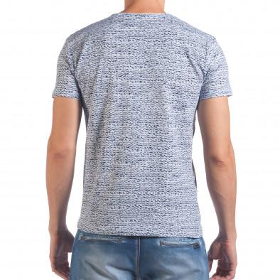 Мъжка бяло-синя тениска с надпис и номер 27 il060616-57 3
