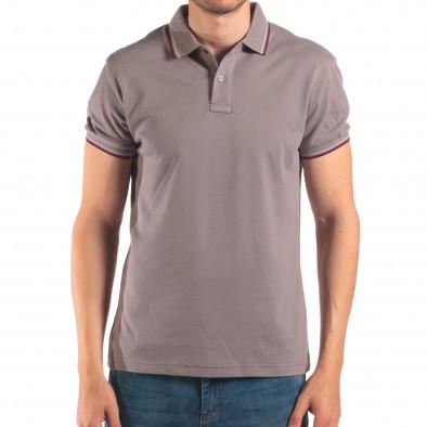 Мъжка сива тениска с яка с червен и бял кант it150616-33 2