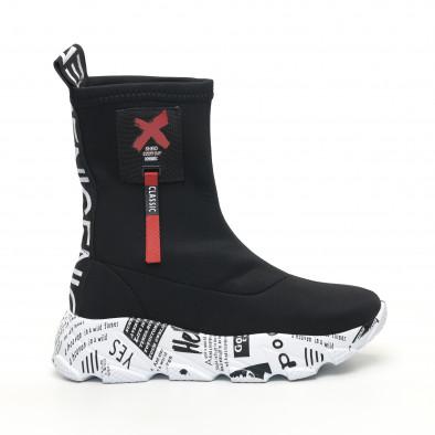 Черни дамски кецове чорап с детайл tr180320-26 2