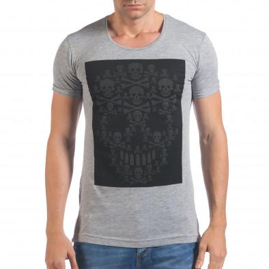 Мъжка сива тениска с черепи отпред il060616-79 2