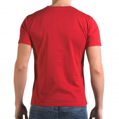 Мъжка червена тениска с асиметрична кройка it090216-68 3