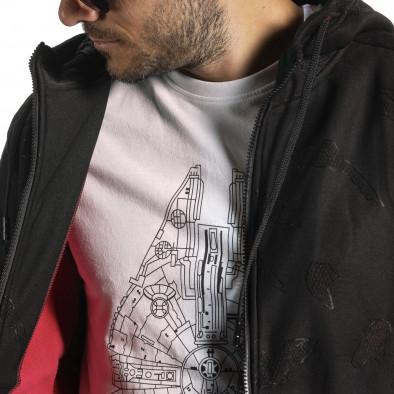 Жакардов черен суичър с цип червен поларен хастар gr070921-49 4