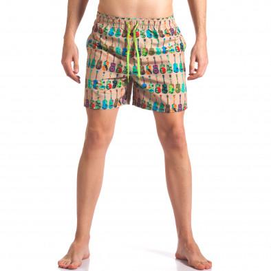 Мъжки бежови бански с яки шарки it260416-45 2