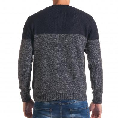 Мъжки син зимен пуловер с релефна плетка it170816-30 3
