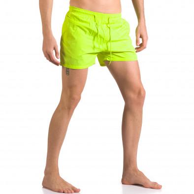 Мъжки неоново зелени бански с бандаж тип шорти ca050416-3 4