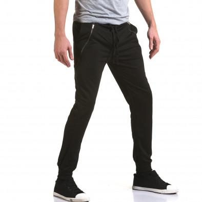 Мъжко черно долнище с 2 диагонали ципа отпред Eadae Wear 5