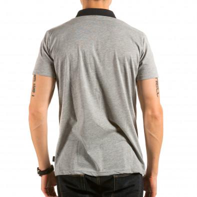 Мъжка сива тениска с яка с птици на гърдите il180215-102 3