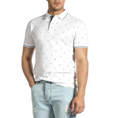 Мъжка бяла тениска пике с палми it150521-15 2