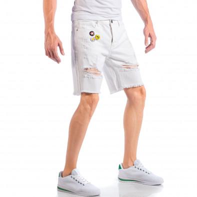 Бели мъжки къси дънки със скъсвания и значки it050618-25 4