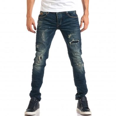 Мъжки дънки с декоративни скъсвания и кръпки it160916-19 2