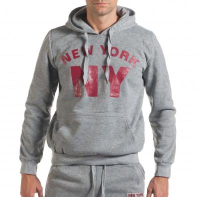 Мъжки сив спортен комплект с надпис it160916-58 4