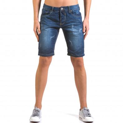 Мъжки тъмно сини къси дънки с малки скъсвания it160316-13 2