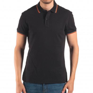 Мъжка черна тениска с яка с оранжев и бял кант it150616-32 2